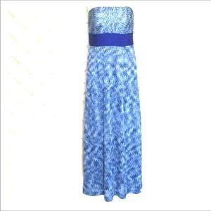 Antonio Melani Blue Chevron Strapless Maxi Dress